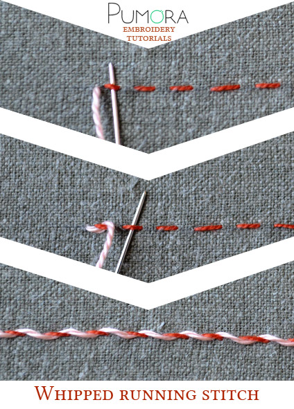 whipped running stitch tutorial