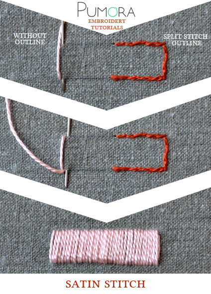 satin stitch embroidery tutorial by Pumora