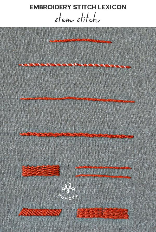 stem stitch embroidery stitch lexicon