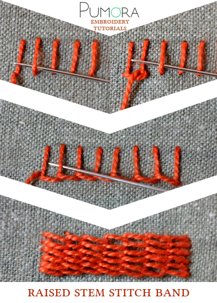 raised stem stitch band tutorial