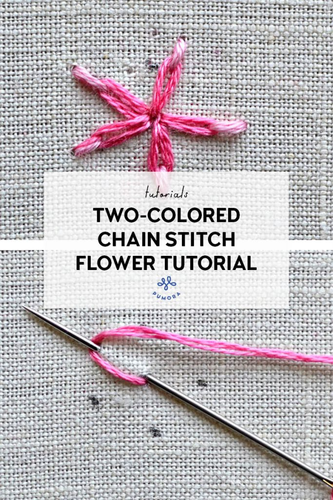 two-colored chain stitch flower embroidery tutorial