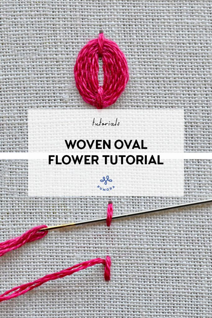 woven oval flower embroidery tutorial