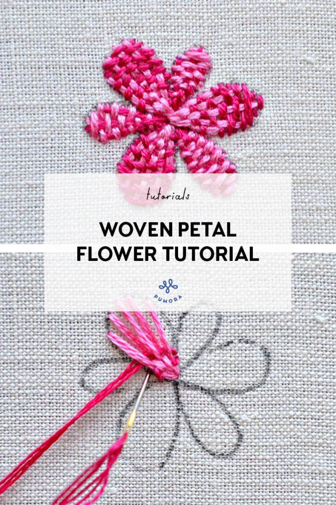 woven petal flower embroidery tutorial