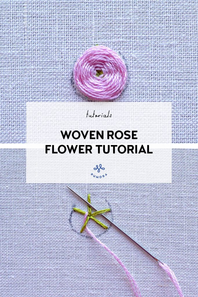 woven rose flower embroidery