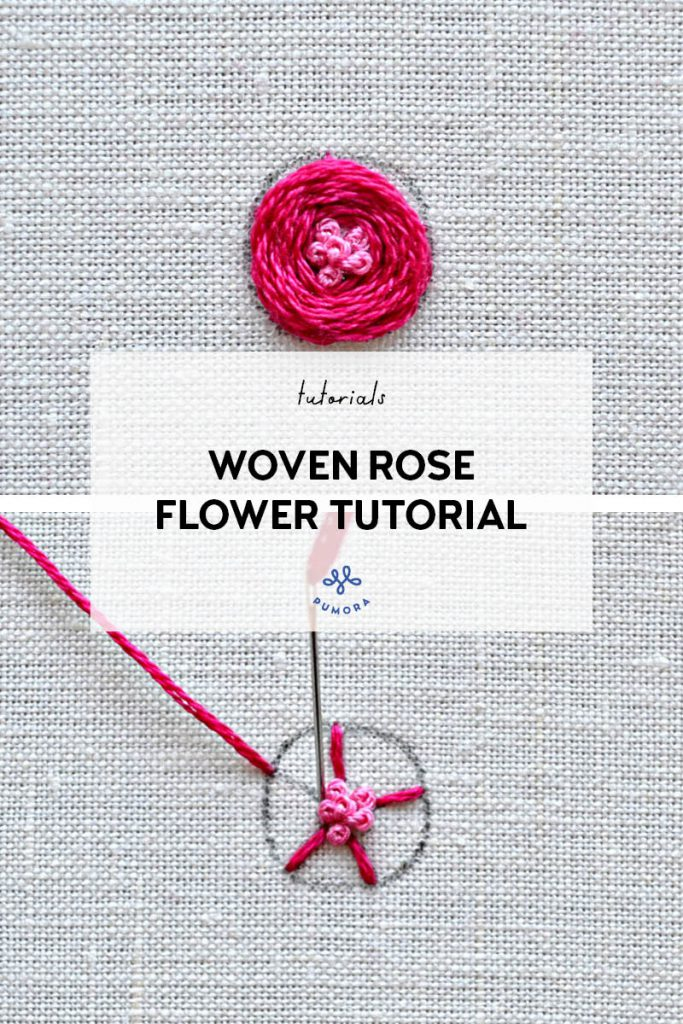 woven rose with french knot center - flower embroidery tutorial