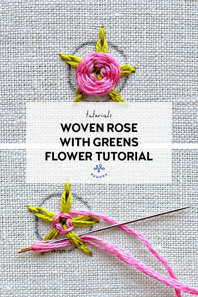 woven rose with greens flower embroidery tutorial