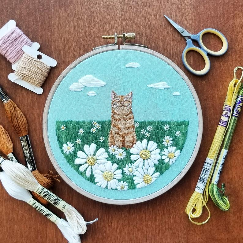 Happy Place cat embroidery pattern by NamasteEmbroidery