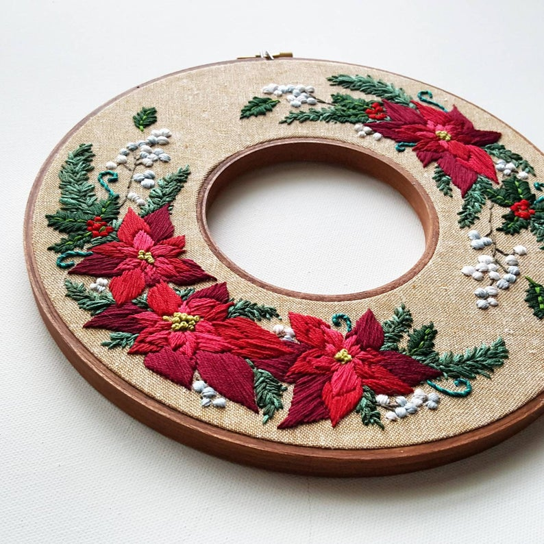 Holiday wreath double hoop pattern by NamasteEmbroidery