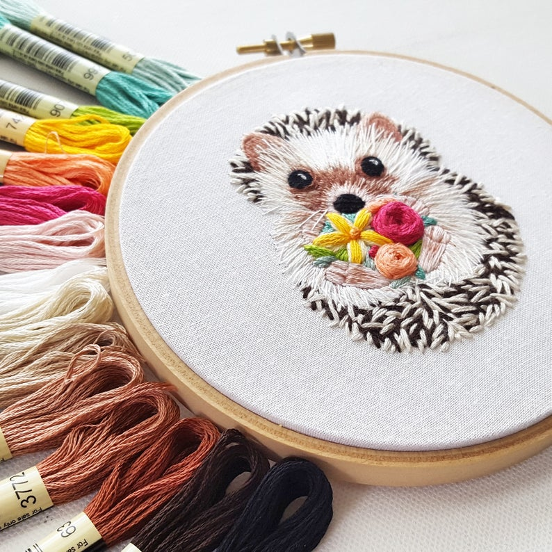 cute hedgehog embroidery pattern by NamasteEmbroidery