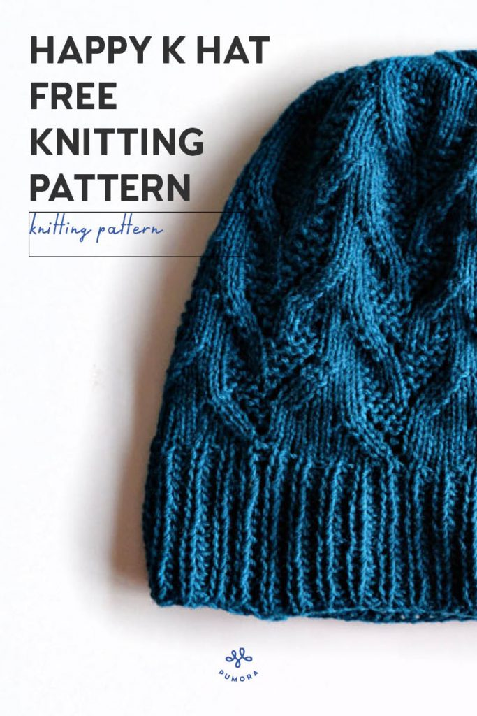 free knitting pattern Happy K hat