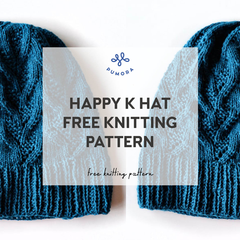 free knitting pattern Happy K hat
