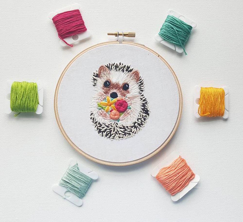 hedgehog embroidery pattern by NamasteEmbroidery 1