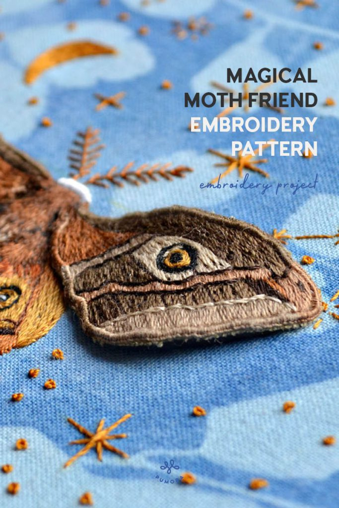 Magical Moth Friend embroidery pattern by Emillie Ferris