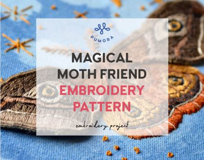 Magical Moth Friend embroidery pattern
