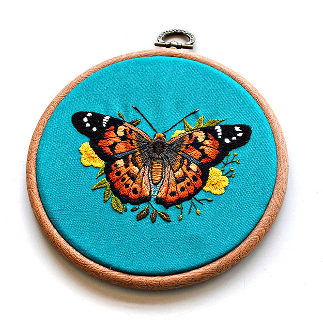 butterfly embroidery pattern by Emillie Ferris