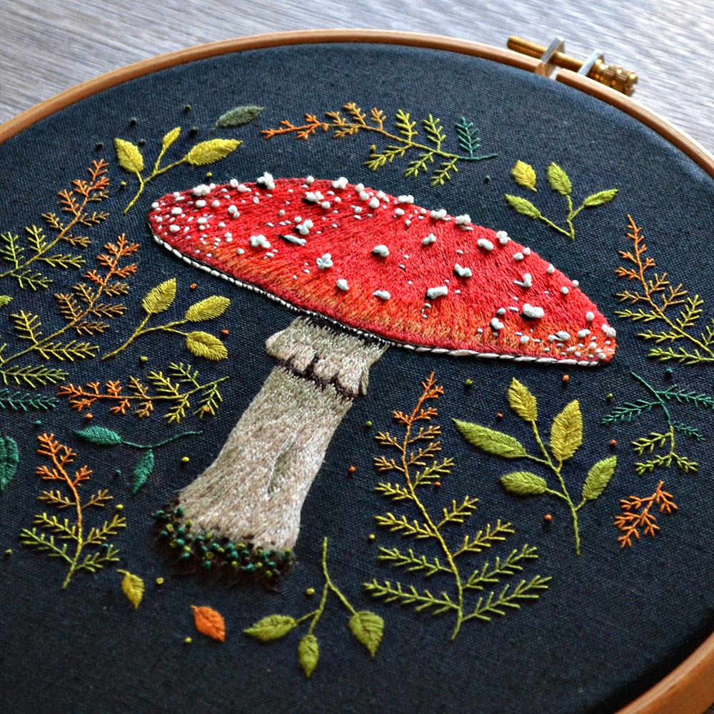 Mushroom embroidery pattern by Emillie Ferris