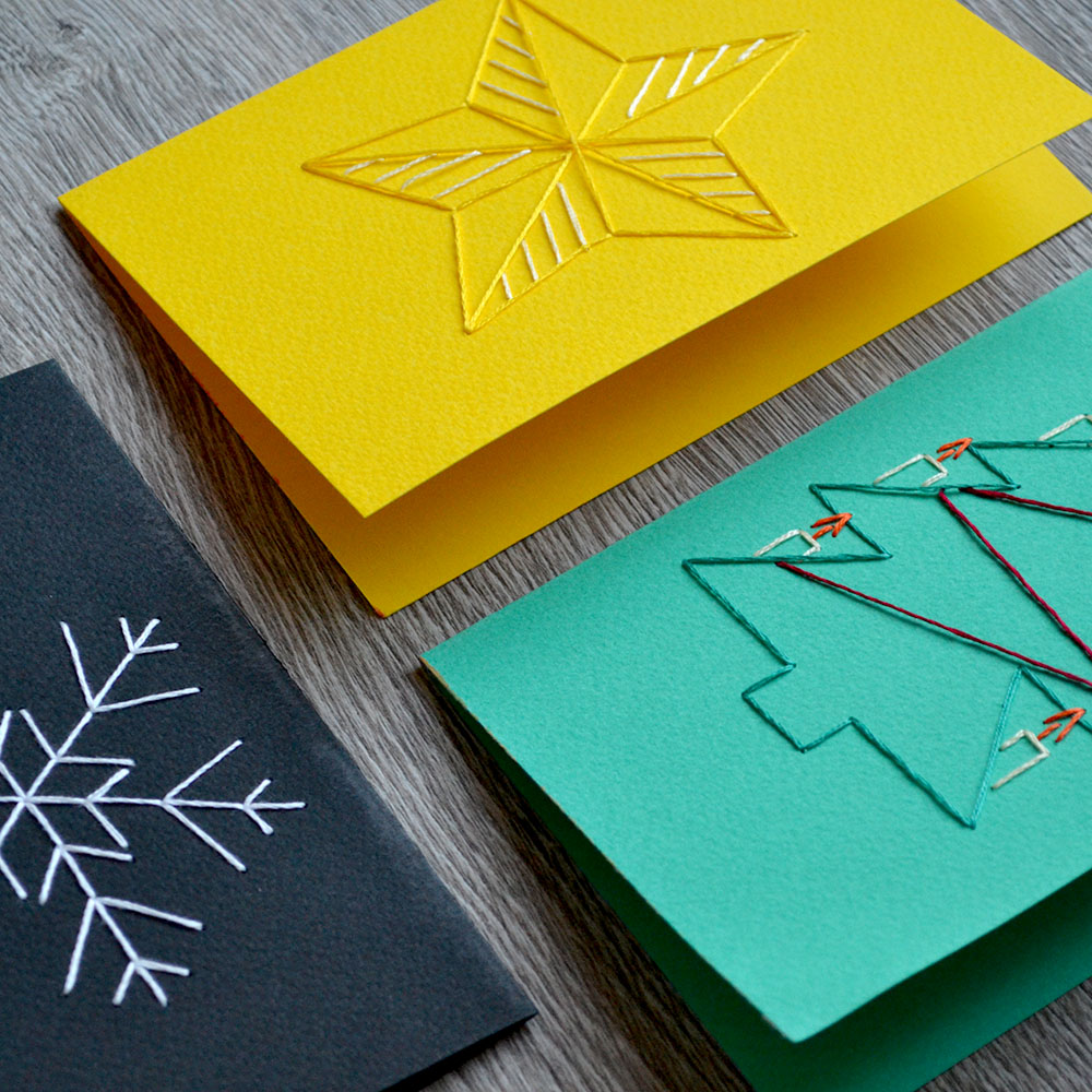 hand stitched christmas cards