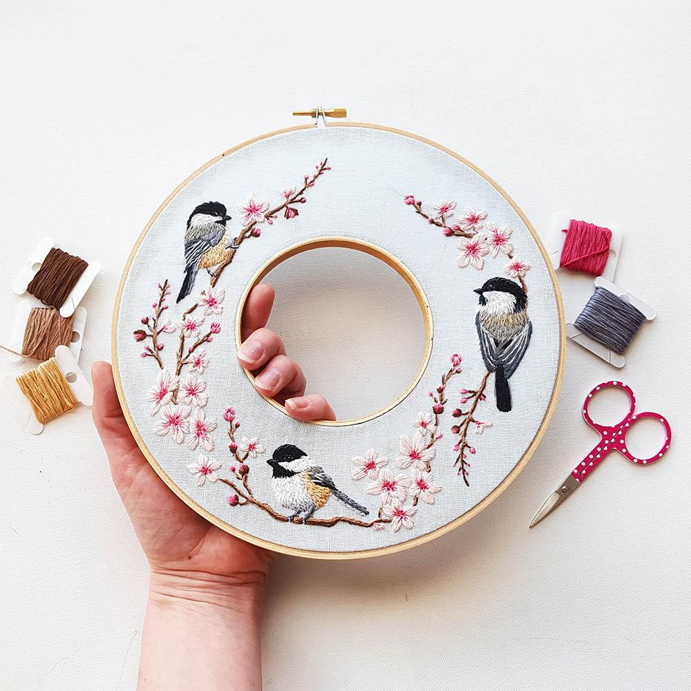 Chickadee bird embroidery pattern namasteembroidery