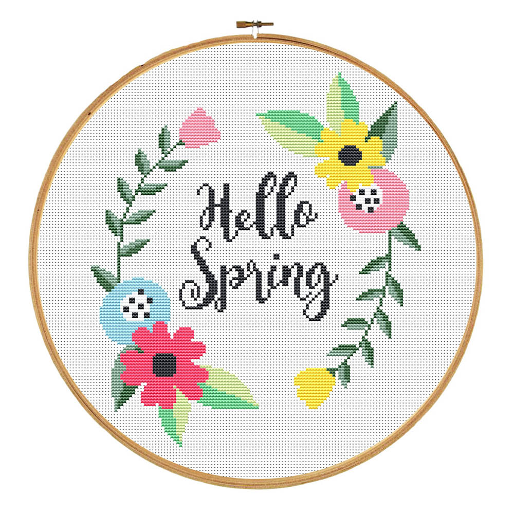 Hello spring cross stitch pattern by crosswithme