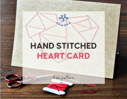 How to embroider a heart card – embroidery on paper