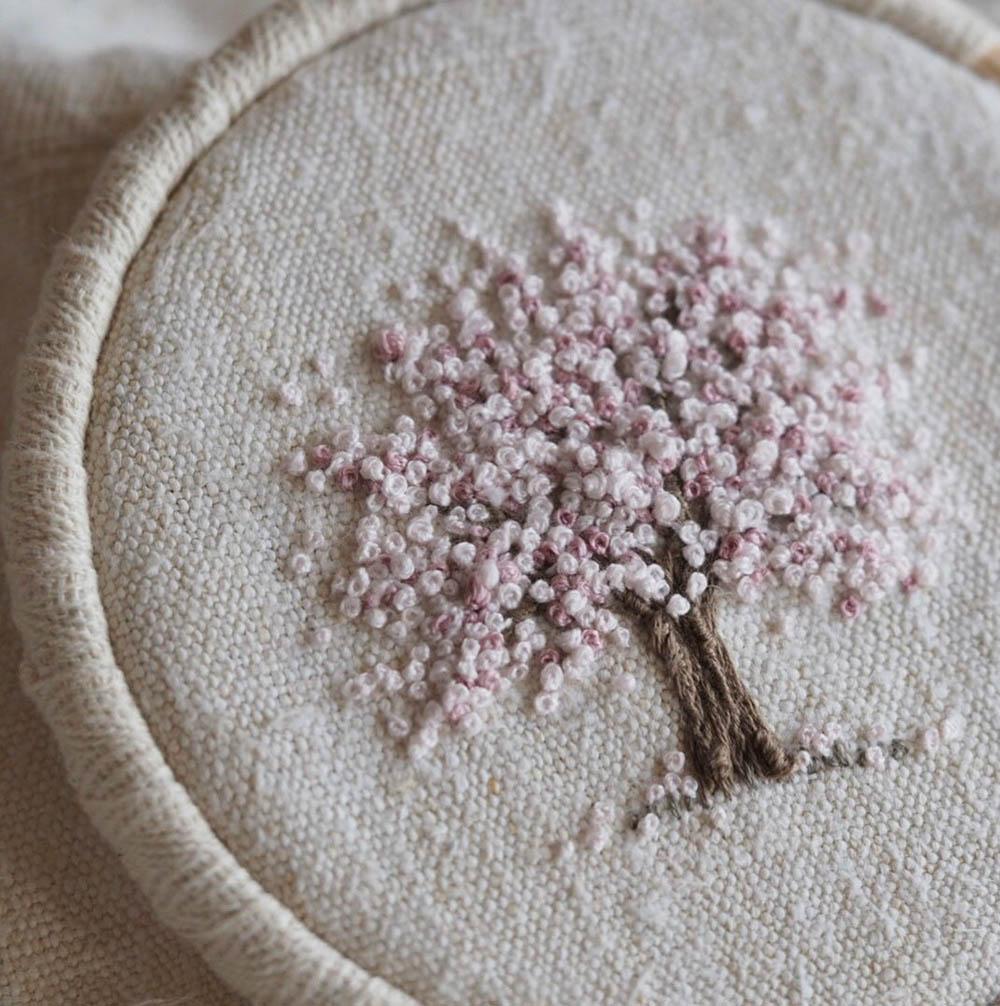 spring blossom tree embroidery kit stitcherystudioshop