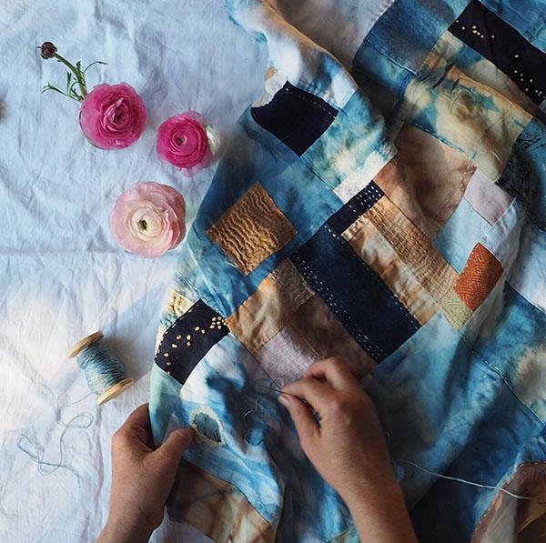 Petalplum Ellie Beck handdyed fabric stitching