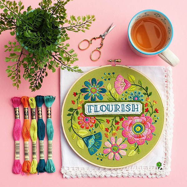 Flourish flower embroidery kit by Lolliandgrace