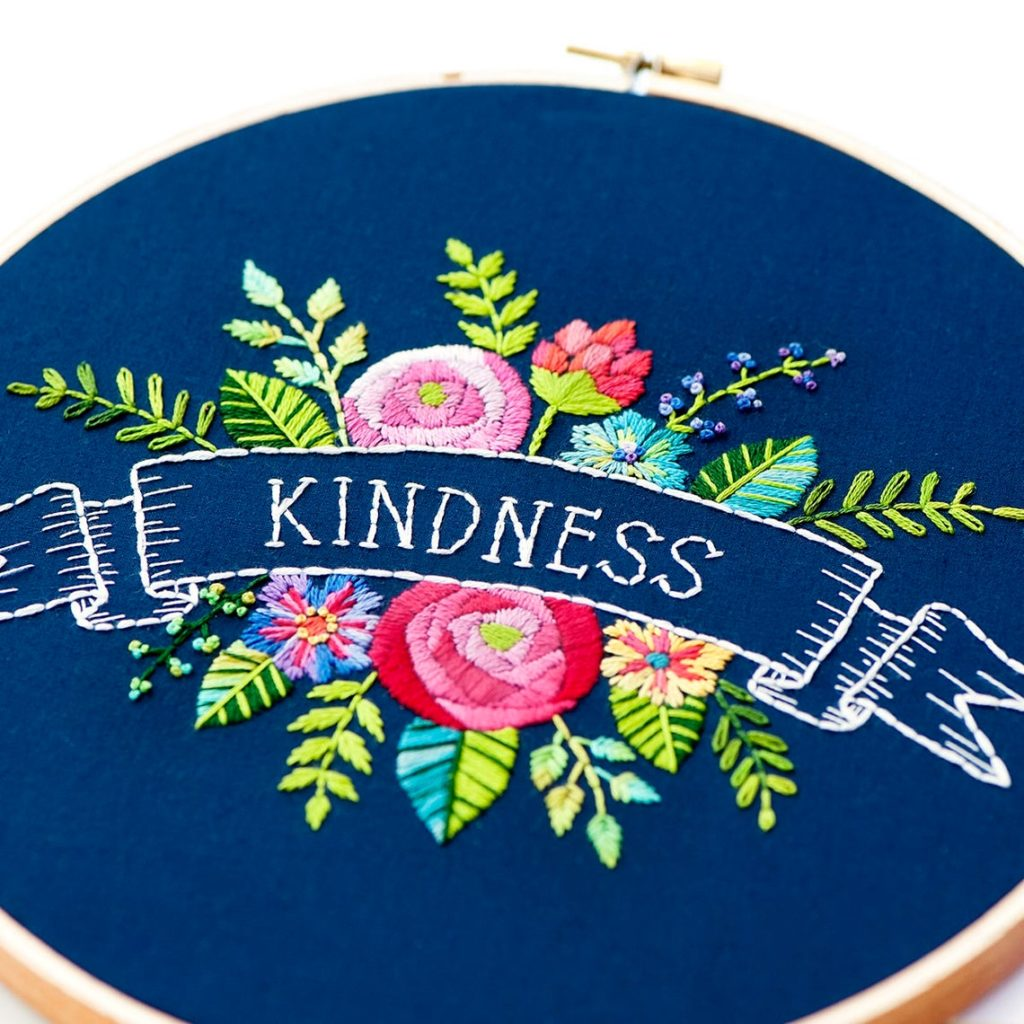 Kindness flower embroidery kit by Lolliandgrace