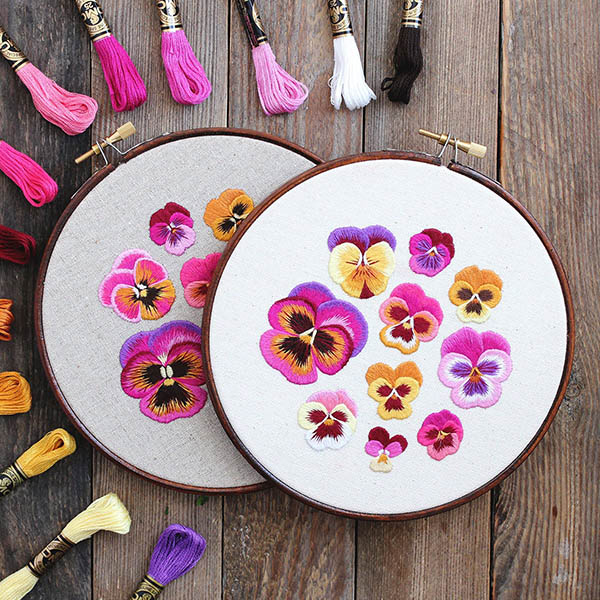 Pansies flower embroidery pattern by Emillie Ferris