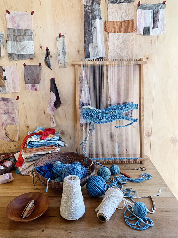 Petalplum interview weaving frame in studio
