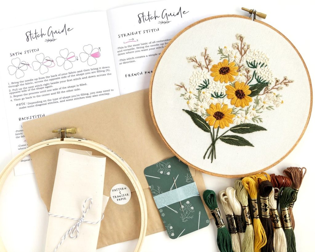 Wildflower bouquet embroidery kit by floralsandfloss