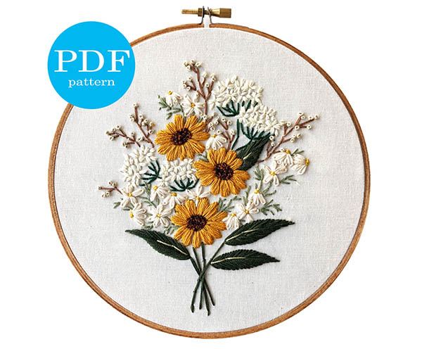 Wildflower bouquet embroidery pattern by floralsandfloss