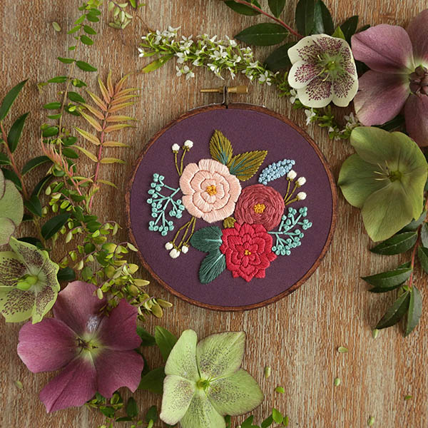 flower embroidery beginner kit by Hoffelt and Hooper Co