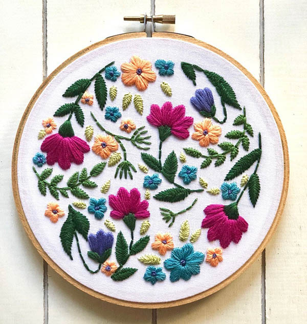 flower embroidery pattern by Ellucystitches