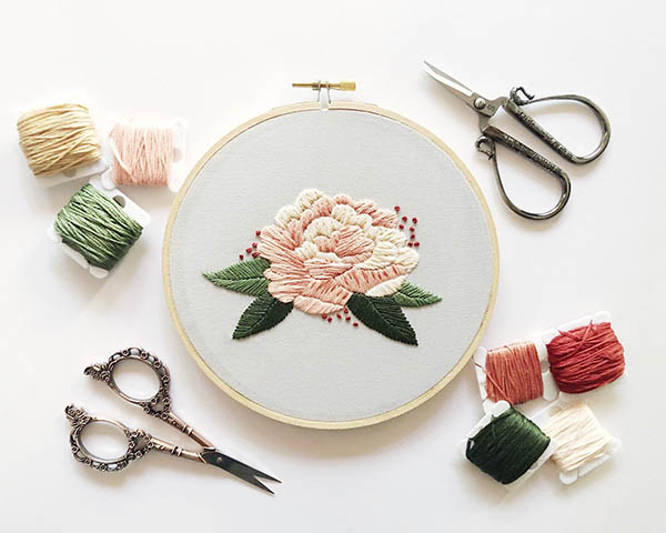 peonies embroidery pattern by cinderandhoney