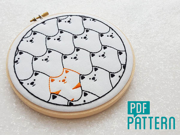 cat embroidery pattern by OhSewBootiful