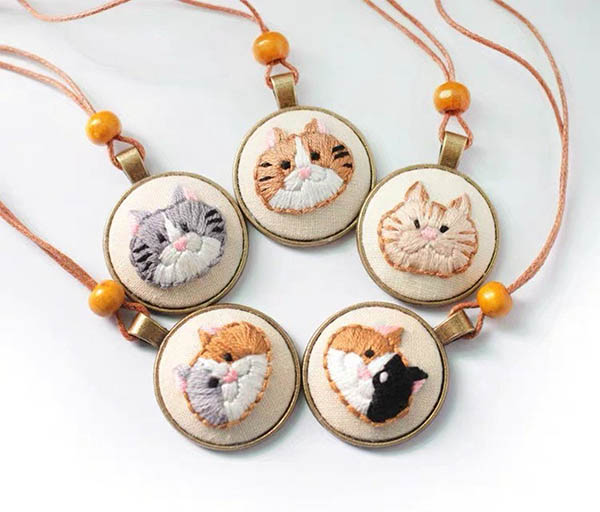 cat embroidery pendant kit by CoconutTheory