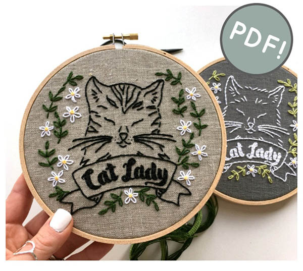 cat lady embroidery pattern by iHeartStitchArt