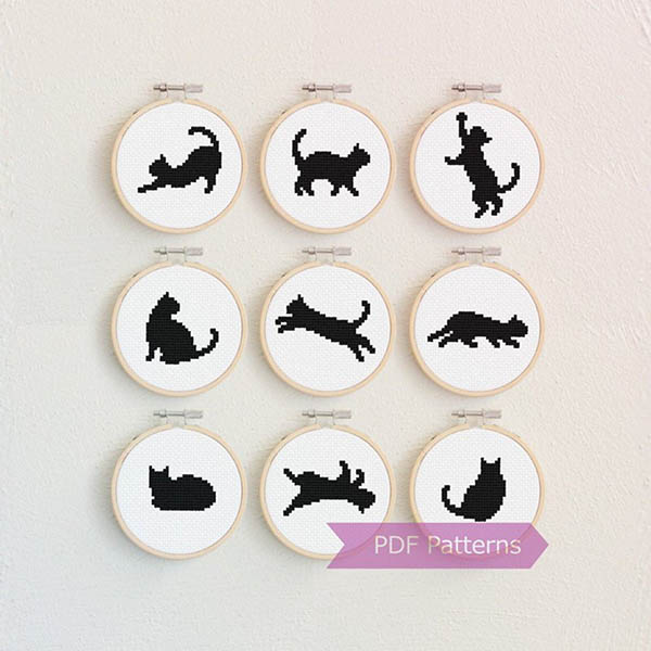 cat silhouette cross stitch patterny by LaSelvaDesign
