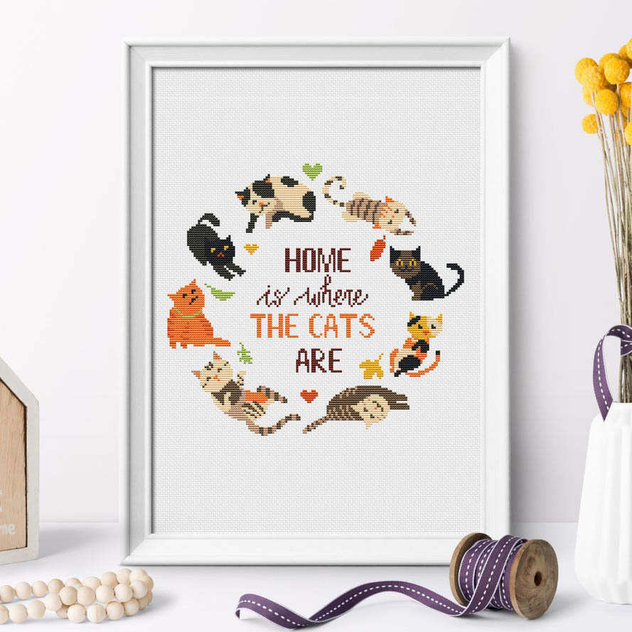 home is where the cats are cross stitch pattern