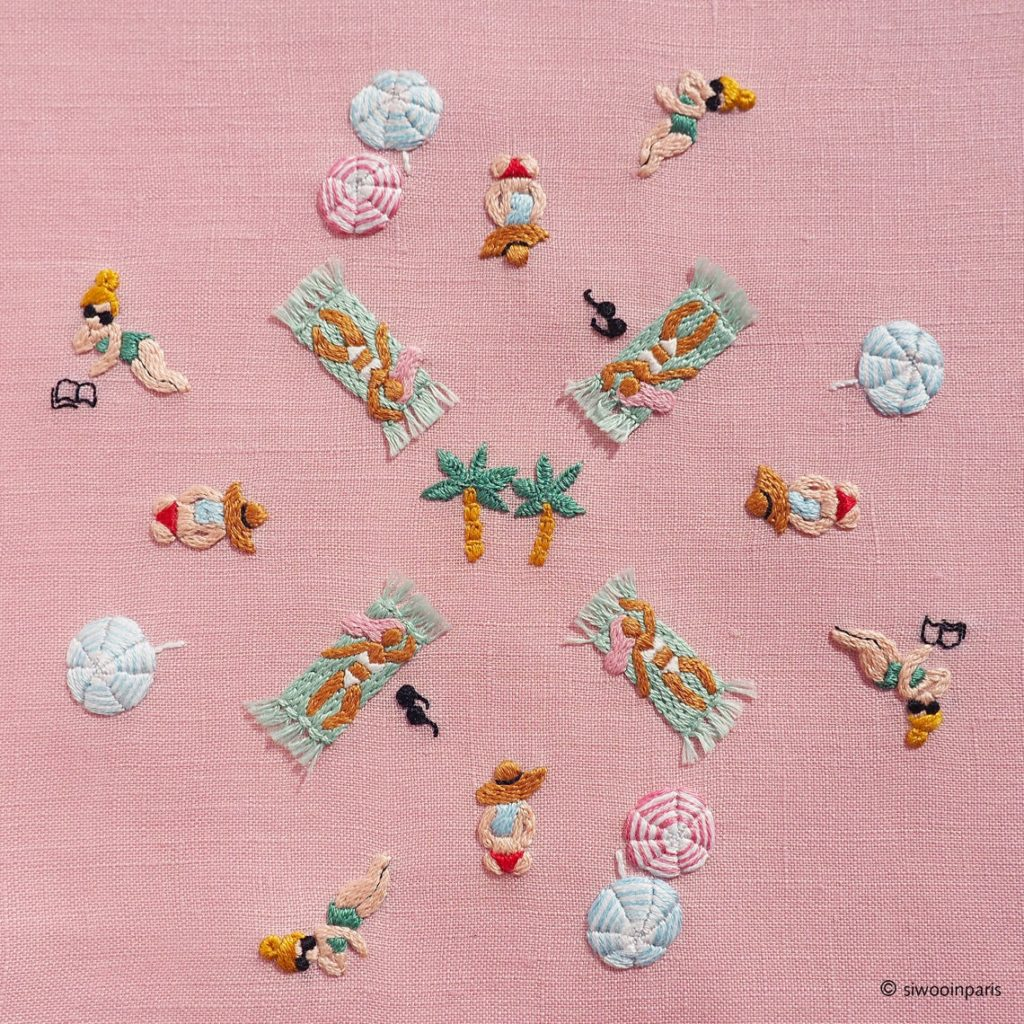 pink beach embroidery pattern by SiwooinParis