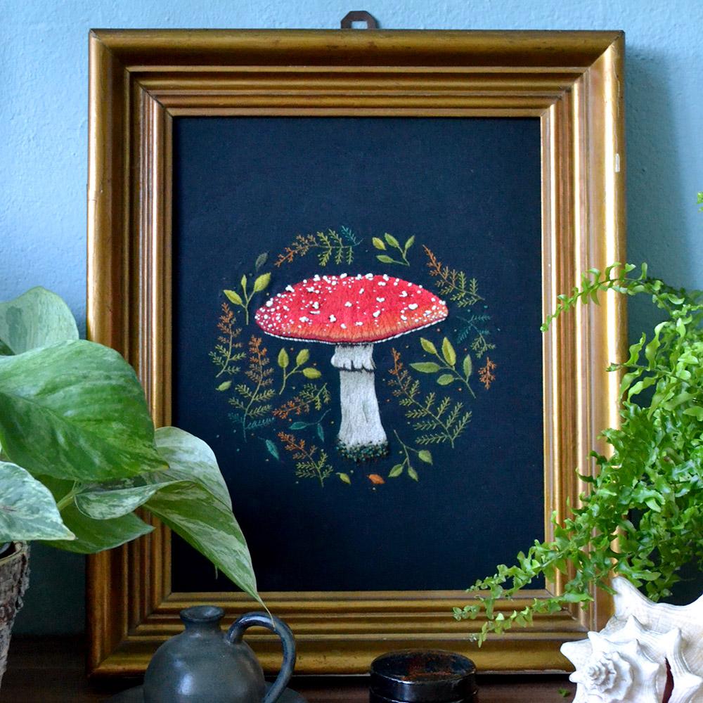 mushroom embroidery in vintage frame