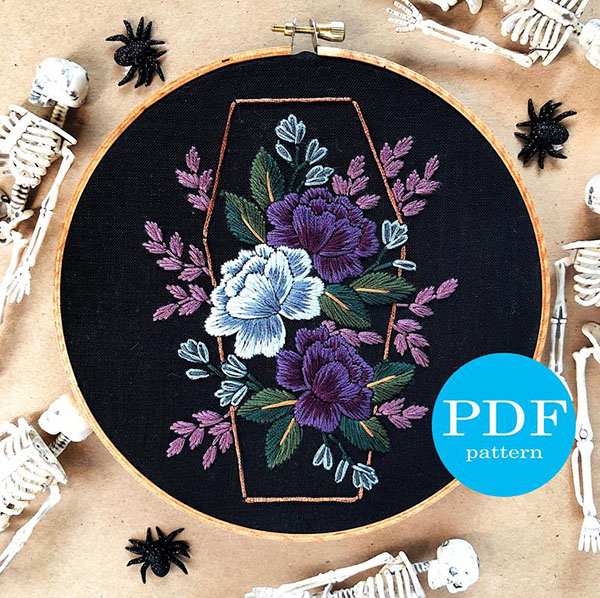 Gothic rose halloween embroidery pattern by floralsandfloss