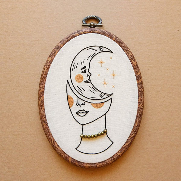 crescent moon girl hand embroidery pattern by ALIFERA
