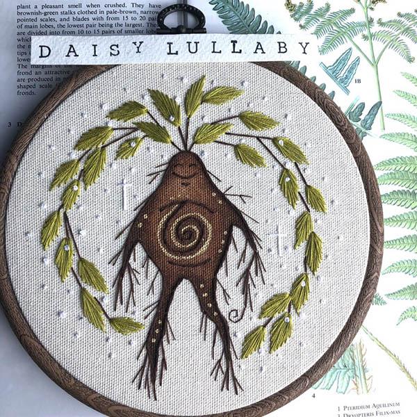 daisylullaby enchanted mandrake embroidery art