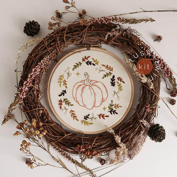 fall leaves pumpkin embroidery pattern by tuskandtwine