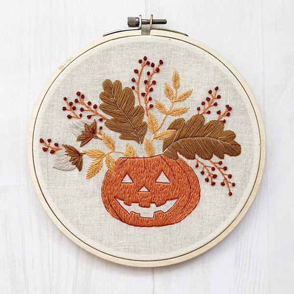 floral pumpkin embroidery design by byNataliaEmbroidery