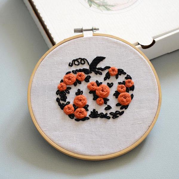 flower pumpkin embroidery pattern by Koddistore