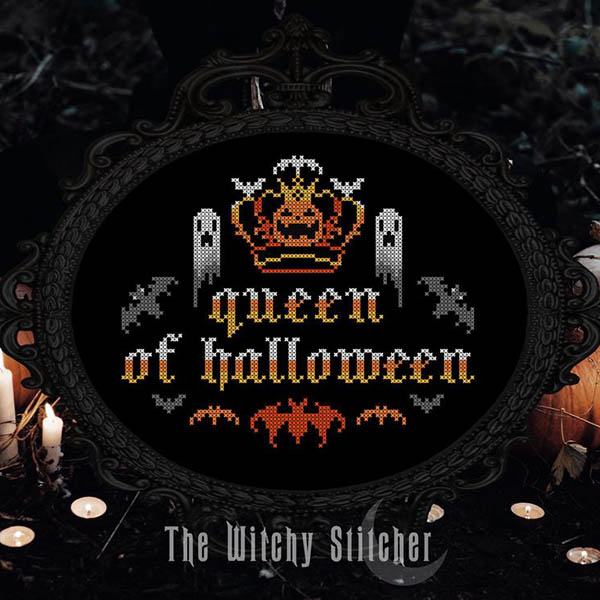 queen of halloween cross stitch pattern by WitchyStitcher