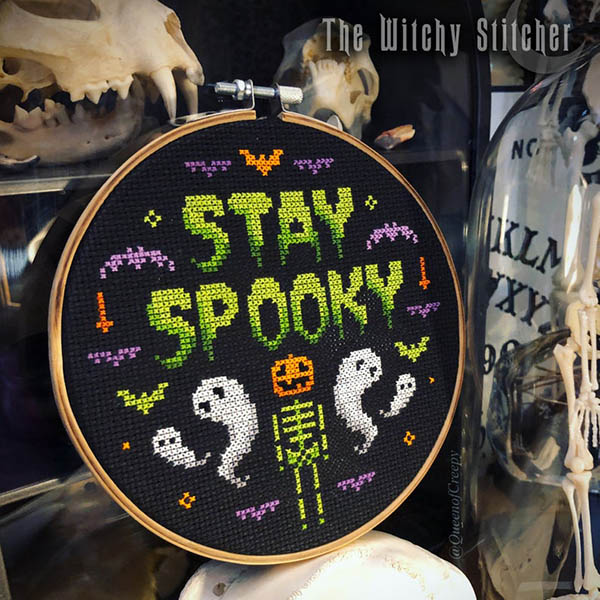 sty spooky ghost embroidery pattern for halloween by WitchyStitcher